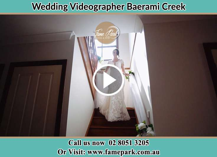 The Bride walking downstairs Baerami Creek NSW 2333