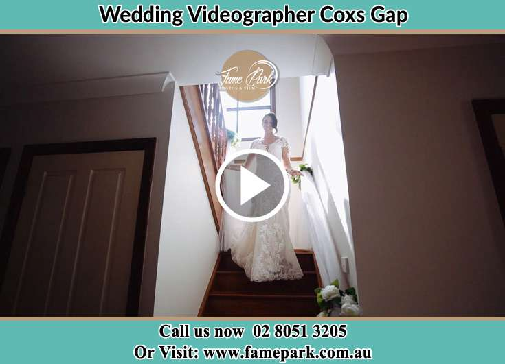 The Bride walking downstairs Coxs Gap NSW 2333